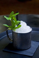 Mojito cocktail in tin cup with sprig of mint, close-up
