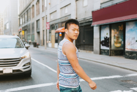 Man crossing road, Boston, Massachusetts, USA