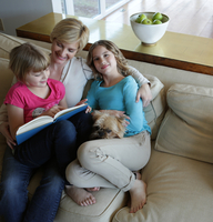 Mother and daughters sitting on sofa with pet dog, reading book 11015301856| 写真素材・ストックフォト・画像・イラスト素材|アマナイメージズ