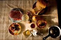 Food, teapot and saucepan on table, overhead view
