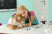 Portrait of girl pretending to be vet hugging toy tiger with intravenous drip 11015302394| 写真素材・ストックフォト・画像・イラスト素材|アマナイメージズ