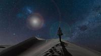 Silhouetted view of woman on dunes under starry night sky, Namib Desert, Namibia 11015303000| 写真素材・ストックフォト・画像・イラスト素材|アマナイメージズ