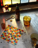 Beer bottle and glasses with board game on pub table 11015303211| 写真素材・ストックフォト・画像・イラスト素材|アマナイメージズ