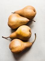 Overhead view of a row of four pears 11015303423| 写真素材・ストックフォト・画像・イラスト素材|アマナイメージズ