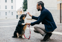 Mid adult man crouching with his dog in cobbled city square 11015303438| 写真素材・ストックフォト・画像・イラスト素材|アマナイメージズ
