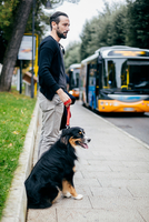 Mid adult man waiting with pet dog at city sidewalk 11015303440| 写真素材・ストックフォト・画像・イラスト素材|アマナイメージズ