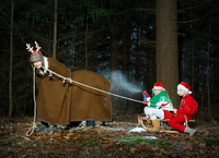 Father disguised as reindeer pulling sleigh with children in Santa costume 11015303639| 写真素材・ストックフォト・画像・イラスト素材|アマナイメージズ