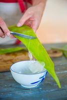 Female hand scraping liquid from aloe leaf in handmade soap workshop 11015303998| 写真素材・ストックフォト・画像・イラスト素材|アマナイメージズ