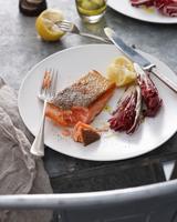 Crispy skin trout with lemon and radicchio on plate, close-up 11015304348| 写真素材・ストックフォト・画像・イラスト素材|アマナイメージズ