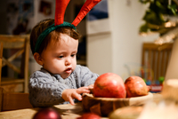 Baby boy in Christmas antlers gazing at pomegranates on table