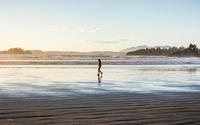 Man strolling on Long Beach at sunrise, Pacific Rim National Park, Vancouver Island, British Columbia, Canada 11015304930| 写真素材・ストックフォト・画像・イラスト素材|アマナイメージズ