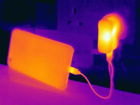 Thermal image of smartphone, charging