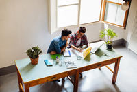 Male couple working at home together, sitting at desk, looking at document, elevated view 11015306172| 写真素材・ストックフォト・画像・イラスト素材|アマナイメージズ