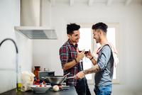 Male couple preparing meal in kitchen, drinking wine 11015306198| 写真素材・ストックフォト・画像・イラスト素材|アマナイメージズ