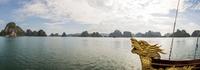 Dragon boat in waters of Ha Long Bay, Vietnam