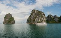 Cruise boat in waters of Ha Long Bay, Vietnam