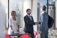 Businessmen and woman shaking hands in conference room