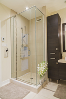 Contemporary brown laminated wood vanity and clear glass shower stall in bathroom of renovated ground floor apartment in old res