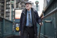 Man walking up subway stairway, Manhattan, New York, USA 11015312312| 写真素材・ストックフォト・画像・イラスト素材|アマナイメージズ