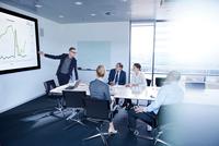Businessman making flat screen presentation to team in boardroom 11015315363| 写真素材・ストックフォト・画像・イラスト素材|アマナイメージズ