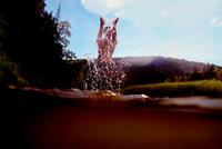 Woman splashing in water, Ural, Russia 11015319288| 写真素材・ストックフォト・画像・イラスト素材|アマナイメージズ