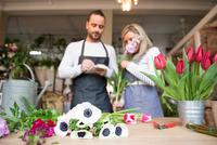 Two florists in flower shop, preparing flower order 11015319630| 写真素材・ストックフォト・画像・イラスト素材|アマナイメージズ