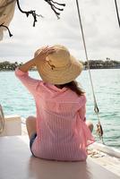 Mid adult woman sitting on deck of sailing boat, holding onto hat, rear view 11015320464| 写真素材・ストックフォト・画像・イラスト素材|アマナイメージズ