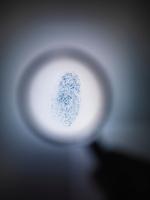 Fingerprint under magnifying glass 11015323213| 写真素材・ストックフォト・画像・イラスト素材|アマナイメージズ