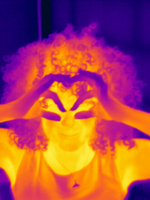 Thermal image portrait of mid adult woman making eye spectacles with hands 11015325315| 写真素材・ストックフォト・画像・イラスト素材|アマナイメージズ