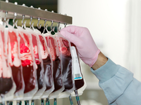 Bags of donated blood hanging in processing facility of blood bank 11015325806| 写真素材・ストックフォト・画像・イラスト素材|アマナイメージズ