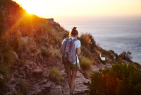 Young woman hiking, rear view, Lions head Mountain, Western Cape, Cape Town, South Africa 11015327526| 写真素材・ストックフォト・画像・イラスト素材|アマナイメージズ