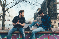 Two young male hipsters sitting on wall looking at smartphone 11015327844| 写真素材・ストックフォト・画像・イラスト素材|アマナイメージズ
