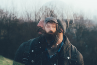 Double exposure portrait of bearded young male hipster 11015327853| 写真素材・ストックフォト・画像・イラスト素材|アマナイメージズ