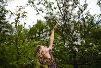 Girl with wavy blond hair reaching up to tree blossom 11015327893| 写真素材・ストックフォト・画像・イラスト素材|アマナイメージズ