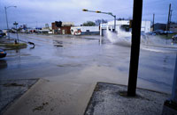 Flooded intersection in deserted town