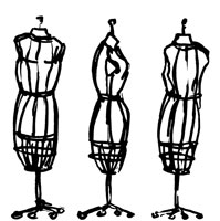 Three dressmaker's models