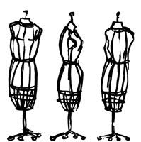 Three dressmaker's models