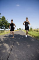 Two woman running