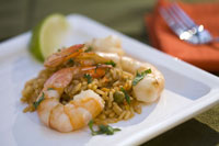 Dish of shrimps and rice