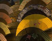 Japanese folding fans at sunset