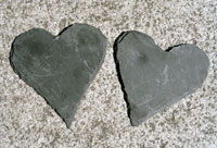 Two heart shaped stones