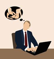 Businessman dreaming of a woman 11016015030| 写真素材・ストックフォト・画像・イラスト素材|アマナイメージズ