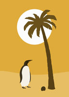 Penguin standing under a palm tree