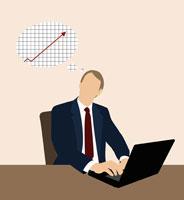 Businessman thinking of a line graph 11016015044| 写真素材・ストックフォト・画像・イラスト素材|アマナイメージズ