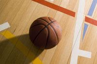 a basketball on a basketball court