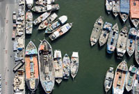Aerial view over moored boats in a marina