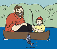 A father and son fishing in a canoe