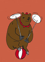 A circus bear balancing on a ball and spinning plates