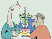 Three dinosaurs sitting at a table with a birthday cake