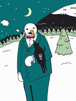 A snowman talking to a crow perched on his arm
